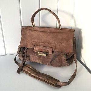 Kooba Taupe Suede Aiden Top Handle Bag